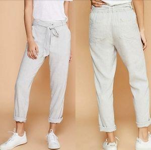 Lou & Grey Crosshatch Linen Tie Waist Pants